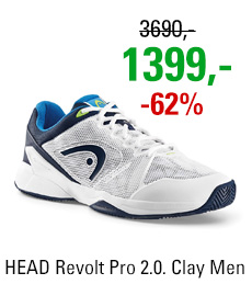 HEAD Revolt Pro 2.0. Clay Men White/Blue 2017