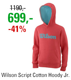 Wilson Y Script Cotton PO Hoody Fiery Coral