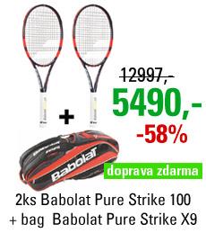 2ks Babolat Pure Strike 100 + Babolat Pure Strike Racket Holder X9
