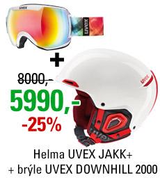 UVEX JAKK+White + UVEX DOWNHILL 2000
