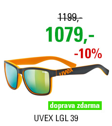 UVEX BRÝLE LGL 39, BLACK MAT ORANGE