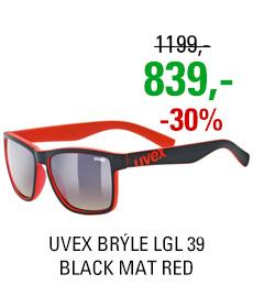 UVEX BRÝLE LGL 39, BLACK MAT RED